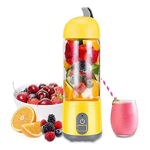 ZXvbyuff Tragbarer Personal Blender, Haushalt Entsafter Fruchtshake-Mixer -Six Blades Doppelklicken Sie auf Start, BPA-frei 420ml Baby-Kochmaschine (Gelb)