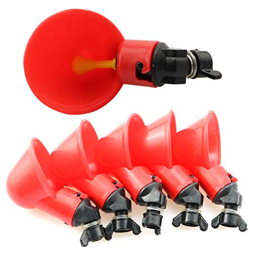 LQ Industrial Chicken Drinker 6PCS Red Plastic Automatic Poultry Water Cups Hen Water Feeders Float Style Gravity Feed Waterers for Poultry Birds