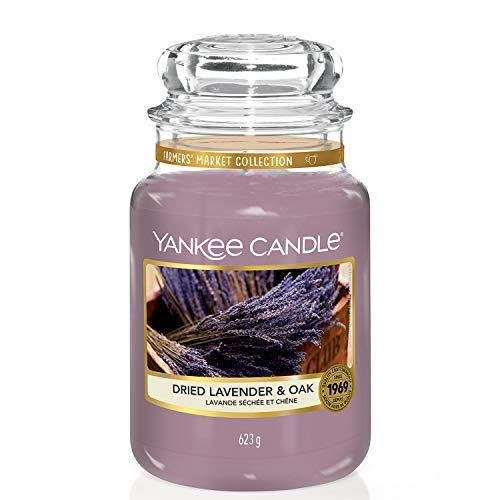 Yankee Candle, große Duftkerze im Glas, Dried Lavender & Oak, Farmers' Market Kollektion