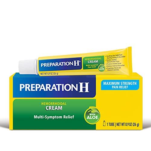 PREPARATION H Hemorrhoid Symptom Treatment Cream (0.9 Ounce Tube), Maximum Strength Multi-Symptom Pain Relief with Aloe