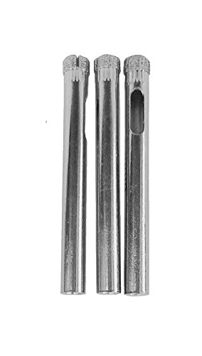 3 Pack of 1/4' Diamond Core Drill Bits For Glass and Tile | Free Beginner's Glass Drilling Guide | Ideal for Drilling Tile, Glass Bottles