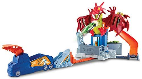 Hot Wheels- Piste l'Attaque du Dragon Circuit de Voiture, DWL04, Multicolore