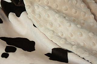 "Minky Blanket - Baby Blanket, Toddler Blanket, Child Blanket - Cream and Brown Cow Blanket (Extra large (@59""X71""), Beige)"