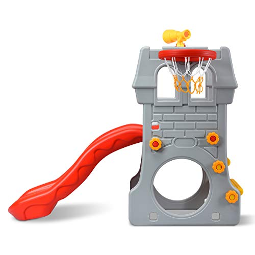 COSTWAY 4 in 1 Kinder Spielplatz mit Teleskopspielzeug, Kletterleiter & Rutsche & Basketballkorb & Fußballtor, Schloss Rutsche, Spielrutsche, Kinderrutsche für 3-8 Jahre - 2
