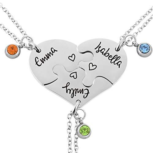 MJartoria Customizable Necklace Best Friends Forever Split Heart Shape Pendant Friendship Necklaces Set of 3