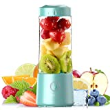 [2021 Newly Upgraded Version]Hotsch Portable Blender, 13.5 Oz Personal Size Blender, Juicer Cup for Juice, Crushed Ice, Smoothies and Shakes, 4000mAh USB Rechargeable with Six Blades, Mini Blender for Sports, Office, Travel, Gym, and Outdoors(Blue)