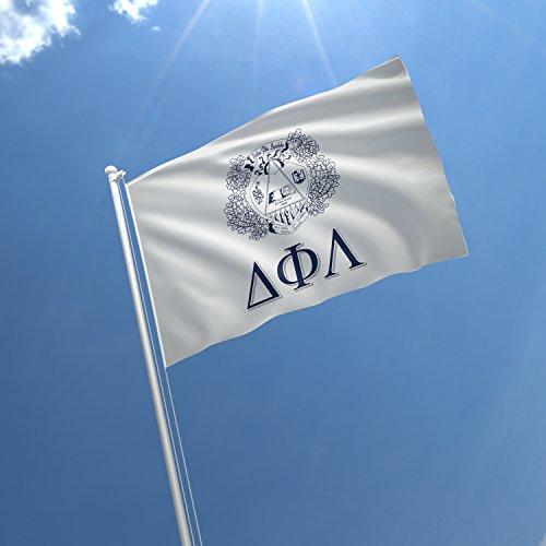 greeklife.store Delta Phi Lambda lizenzierte Fahne für Zuhause, Geschäft, Keller, Garage. Haltbare Metallösen zum Aufhängen, 100% Polyester, Bedruckt.