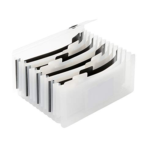 Uquelic Desk Stand Receipt Folder - Piano Key 13 Pockets Expanding Accordion Coupons Storage/Expandable Large Capacity Small Document File Organizer with Label, 10 x 5 inch