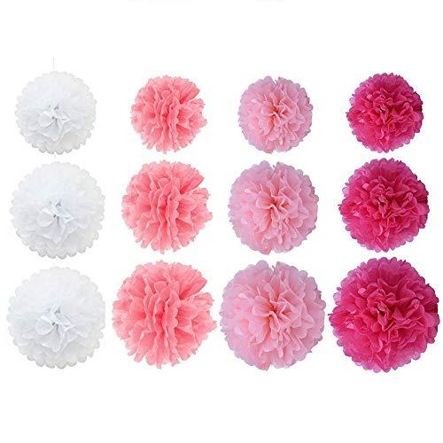 Simuer - Juego de 12 pompones colgantes de tela para decoración de bodas y fiestas de cumpleaños (blanco, rosa, rosa claro y rojo rosa), 20,3 cm/25,4 cm/30,5 cm