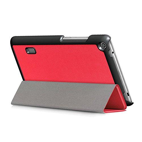 Kepuch Custer Hülle für Huawei MediaPad T3 7.0 WiFi,Smart PU-Leder Hüllen Schutzhülle Tasche Case Cover für Huawei MediaPad T3 7.0 WiFi - Rot - 5
