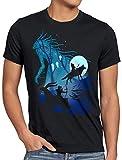 style3 Mononoke Vollmond Herren T-Shirt Wolf Prinzessin Anime, Größe:XL