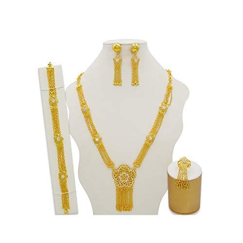 XJTJSM Anillo de los Pendientes de la Pulsera del Collar de Las Mujeres, Conjuntos de Joyas de Oro, Dubai Brida Regalos de Boda (Color : 2)