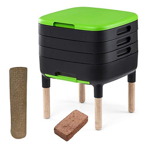 WormBox TinyWorm Design & Compact I Vermicompostaggio 3 vassoi I Kit Completo I Cassetto Scorrevole I Piedi in Legno