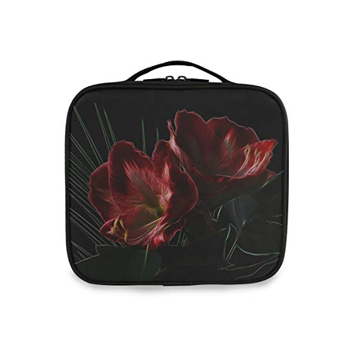Deziro Trousse à maquillage personnalisée Motif floral Rouge