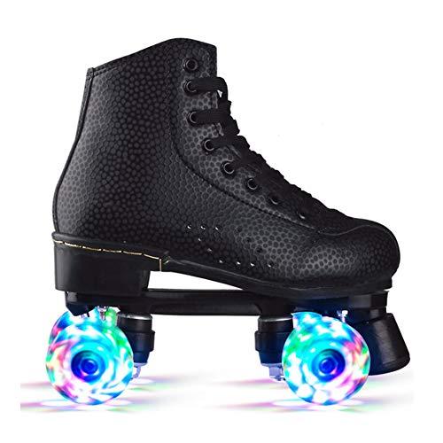 Pinkskattings@ Rollschuhe Disco Roller Kinder Mädchen Mit Glitzer Double Row Skates Erwachsene Rollschuhe Roller Figure Quad Skates,Schwarz,42