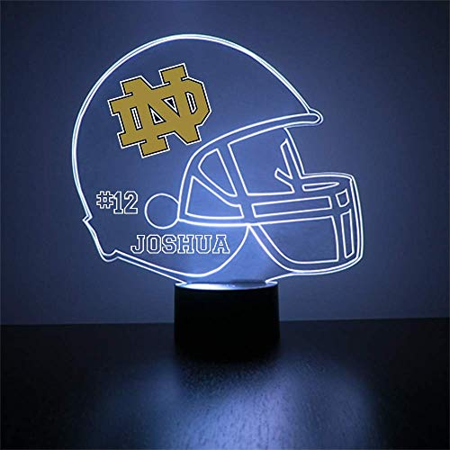 Mirror Magic Store Notre Dame Fighting Irish Football Helmet Sports Fan Lamp/Night Light - LED - Personalize for Free - Featuring Licensed Decal