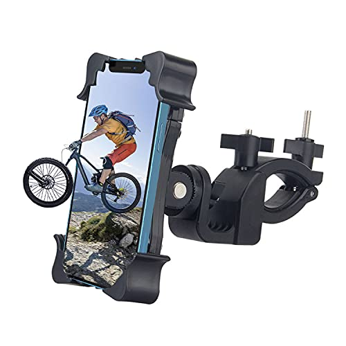 SPRIME Soporte movil Bicicleta Moto Porta movil Bicicleta 360 rotación Anti-vibración Accesorios Moto para Todos los iPhone 12 MAX 11 Pro XS 8 8P 7 7P 6S Samsung S10 S9 S8 Huawei de 4.7-6.8' (T2)