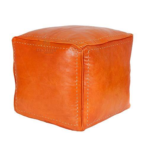 Medina Souvenirs Banqueta Cuadrada Color Naranja Acolchado Cuero, PUF Totalmente Hecha a Mano - Lleno de