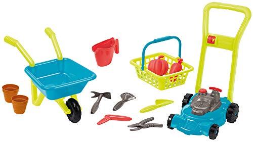 Jouets Ecoiffier - Pack 3 en 1 : tondeuse, brouette, panier et accessoires de jardin – Outillage de jardin pour enfants – Dès 18 mois – Fabriqué en France