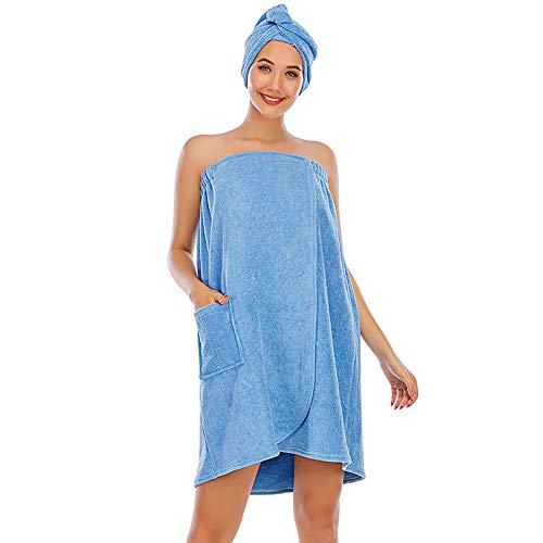 Conjunto de albornoz para mujer, toalla de baño para niña, vestido sin mangas, de rizo para spa, tubo grueso, ropa de dormir + cabezal de ducha de pelo, azul claro, L