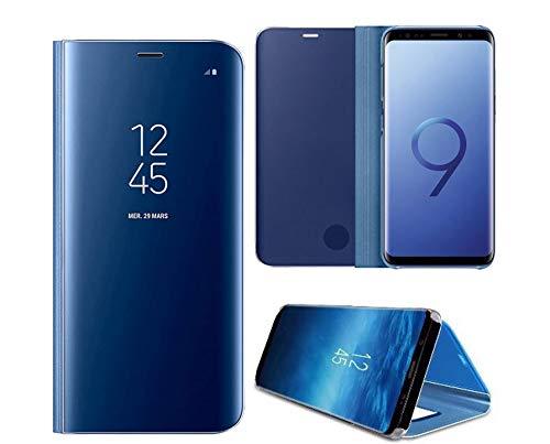 Hexcbay Coque iphone X/XS, pour iphone XR, Élégant Miroir Flip Etanche Ultra Mince Flip Cover Antichoc Anti-Rayures Coque Etui Housse pour iPhone XS Max (IPhone XR, Bleu)