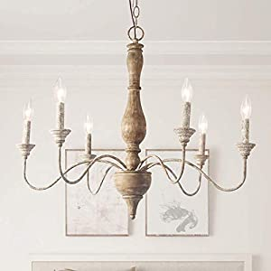 LNC French Country Chandeliers Wood 6 Lights Rust Arms for Dining, Bedroom, Living Room and Bathroom, Brown