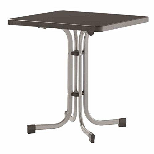 Sieger 231/A Boulevard-Klapptisch mit mecalit-Pro-Platte 70 x 70 cm, Stahlrohrgestell graphit, Tischplatte Schieferdekor anthrazit