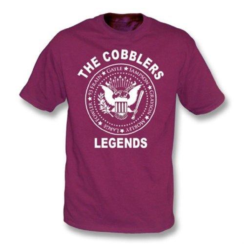 La camiseta de las leyendas de los zapateros (estilo de Ramones) grande, colorea marrón