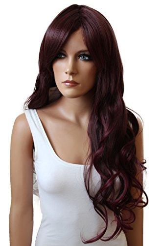 PRETTYSHOP Unisexe Perruque Pleine Cheveux Longs Fibres Synthétiques Résistant à La Chaleur Ondulé Volumineux bourgogne # 6Tburg FS836e