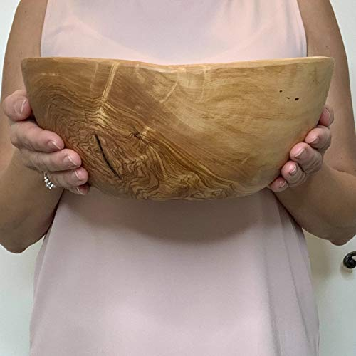 Olive Wood Salad Bowl | Handmade Artisan Bowl | 100% Natural Wood | Perfect for Salads, Serving, Entertaining | Beautiful Wood Grain Made in Tunisia (10 Inch)