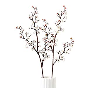 Artificial Flowers Plum Blossom Long Cherry Tabletop vase Simulation Flower Table Decoration Accessories Party Beach Theme Decorations Wedding Christmas 2 Pack (White-1)