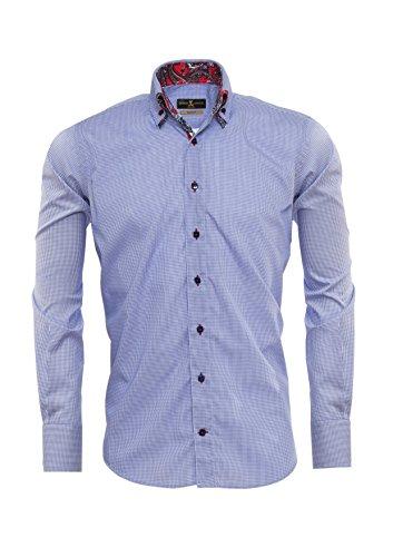 Giorgio Capone Herrenhemd, 100% Baumwolle, blau-weiß kariert, Button-Down Doppelkragen mit roten Elementen, Langarm, Slim & Regular Fit (L Reg mit Brusttasche)