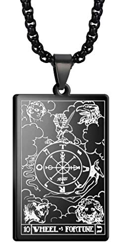 VASSAGO Tarot Stainless Steel X Wheel of Fortune Tarot Card Pendant Laser Engraved Celtic Astrology Divination Magic Amulet Necklace (Black)