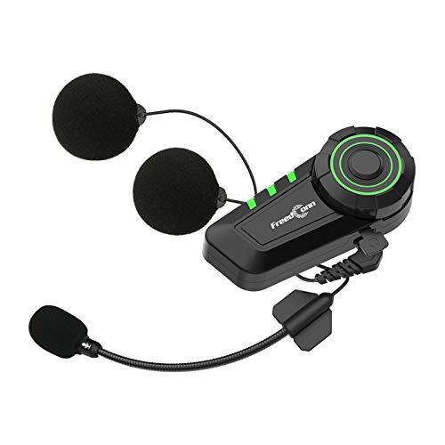 Docooler Auriculares para Casco Motocicleta BT5.0 Soporte Radio FM IP65 Impermeable Conecta 2 Teléfonos Móviles Mismo Tiempo Batería 500mAh con Microfono Compatible con FreedConn KY