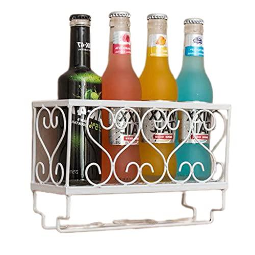 Xuebai Estante de Vino montado en la Pared Soporte de Vidrio para Botellas con cubilete Organizador de Colgador para Vino Blanco ✅