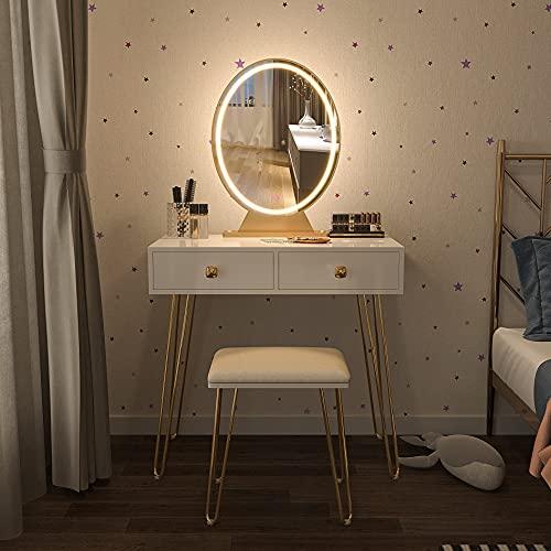 Vlsrka Tocador blanco | Tocador con espejo para maquillaje, taburete acolchado, cajón y estantes, dormitorio o habitación juvenil | Mesa cosmética ideal para mujeres y adolescentes...