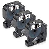 3x Xemax Compatibile Etichette Sostituzione per Dymo Rhino 18055 S0718300 Industriale Tubi termorestringenti Nastri 12mm x 1.5m Nero su Bianco per Dymo Rhino 1000 4200 5200 5000 6000 Etichettatrice