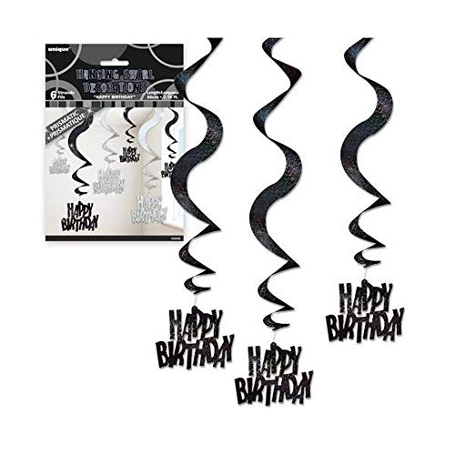 NANA'S PARTY Âge 40 Joyeux Anniversaire 40 Ans Noir et Argent Glitz banderoles de fête Ballons {1 C}