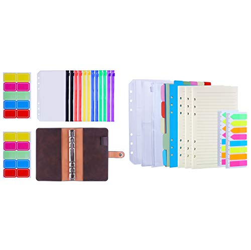 Antner 12pcs A6 Colored Zipper Binder Pockets with PU Leather Notebook Binder Bundle | 3 Pack A6 Refill Paper, 2 Pack 160pcs Neon Page Markers, 10pcs Binder Dividers, 3pcs Binder Pockets