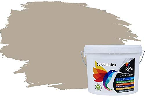 RyFo Colors Seidenlatex Trend Grautöne Kieselgrau 6l - bunte Innenfarbe, weitere Grau Farbtöne und Größen erhältlich, Deckkraft Klasse 1