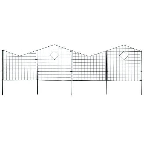 ESTEXO Gartenzaun Set Teichzaun 10 Elemente Steckzaun Metallzaun Zaunset Spitzbögen Gitter-Zaun Metall-Gitter Teichzaun-Set (Anthrazit)