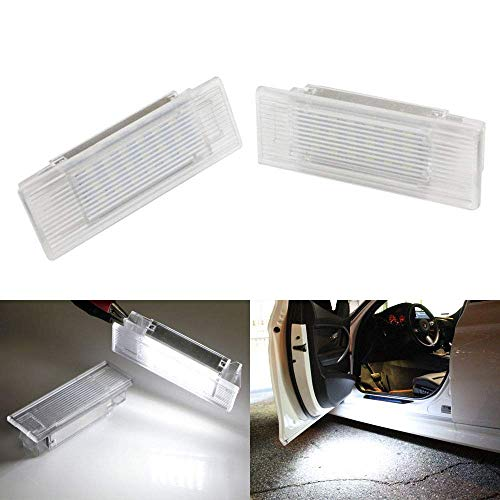 iJDMTOY (2) Full LED Step Courtesy Lights Compatible With BMW 1 2 3 4 5 7 Series X1 X3 X5 X6 etc., OEM Replacement, Powered by 18-SMD Xenon White LED Lights & CAN-bus Error Free