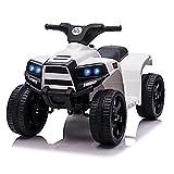 HOMCOM Voiture 4x4 Quad Buggy électrique Enfant 18-36 Mois 6 V 3 Km/h Max. Effet Lumineux sonores métal PP Blanc Noir