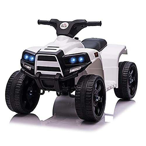 homcom Quad per Bambini ATV Elettrico 6V con Fari e Clacson, velocità 3km/h, età 18-36 Mesi, 65x40x43cm, Nero Bianco
