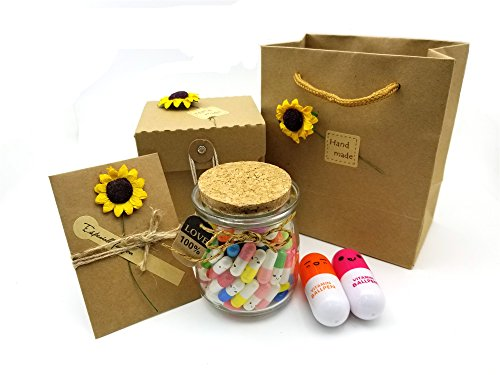 Patty Both 120 Pcs Capsule Message in a Glass Bottle Set - Love Letter Half Color Pill for Mother's...