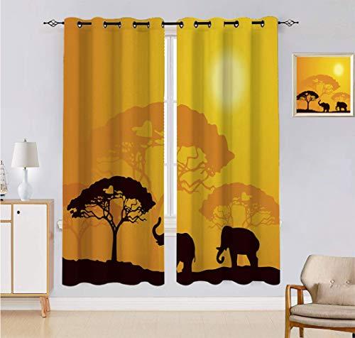 Cortina de paisaje, hecha a medida, animales salvajes, elefantes, vigas de sol, árboles, impresión de ventanas, 2 paneles, cada panel de 156 cm de ancho x 222 cm de largo, color amarillo y negro