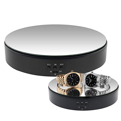Pineplex Turntable Display Stand 360 Degree Battery/USB Powered 7 Inch Rotating Mirrored Table for Display Jewelry Watch Digital Product 3D Models and Collectibles Bearing Load 22 pounds Black