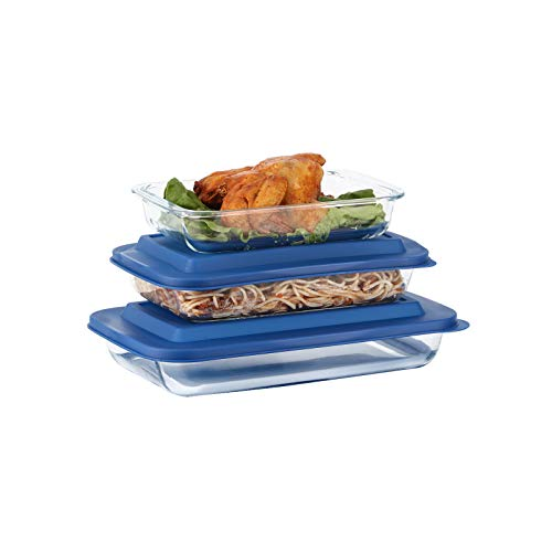 Doonmi – 3 Pack Classic Glass Baking Dish with Blue Lid (1.6 Litre, 2.2 Litre and 3 Litre), Glass Rectangular Roaster, Dishwasher Safe, Freezer-to-Oven Safe Baking Dishes, with BPA-Free.