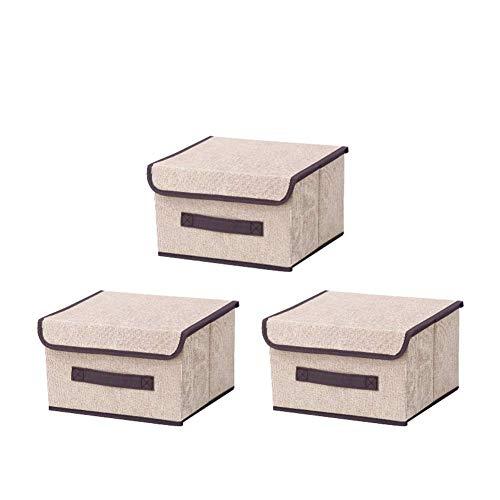 NAFE Paquete de 3 Cajas de Almacenamiento con Tapas Caja organizadora de Almacenamiento Plegable con asa Contenedores de Almacenamiento Grandes para Juguetes, Libros, Armario, dormitori Beige-S