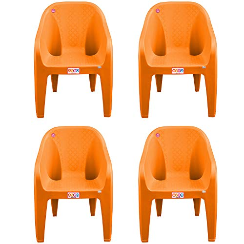 AVRO FURNITURE 9100 Plastic Chairs | Set of 4 | Matt and Gloss Pattern | Plastic Chairs for Home, Living Room| Bearing Capacity up...